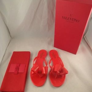 fb352a03eb8 Valentino Rockstud Red Rubber Jelly Bow PVC Thong Boutique